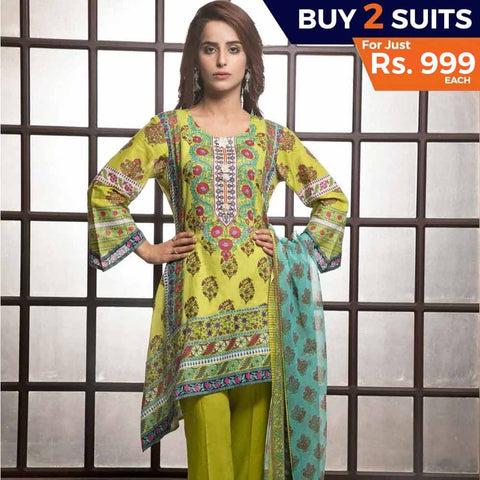 Rangreza Printed Lawn 3 Piece Un-Stitched Suit Vol-1 - 9 B - test-store-for-chase-value