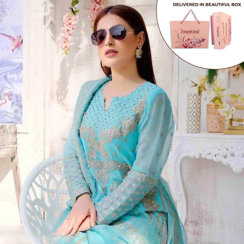 Exclusively Yours Heavy Embroidered Chiffon 3 Piece Un-Stitched Suit - 4638