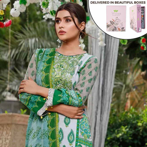 Zobia Noor Embroidered Lawn 3 Piece Un-Stitched Suit - ZN-01B