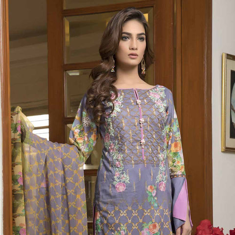Zmaria Embroidered Lawn Un-Stitched Suit - 6A