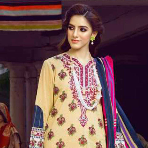 Monsoon Printed Lawn 3 Piece Un-Stitched Suit Vol 1 - 6 A