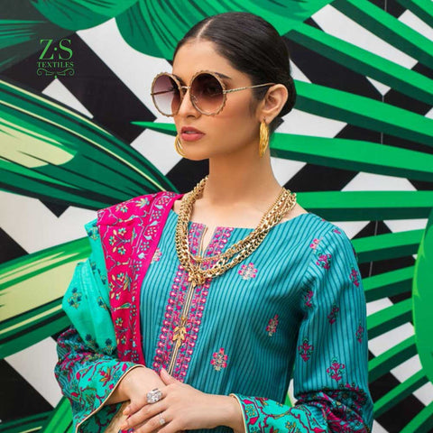Signature Icon Printed Embroidered Lawn 3 Piece Un-Stitched Suit - 6 A