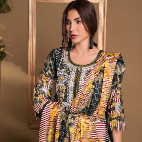 Sahil Luxury Embroidered Festive Lawn 3 Piece  Un-Stitched Suit - A6