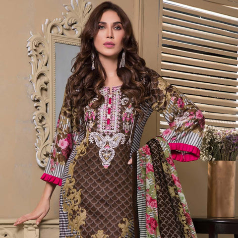 Sahil Luxury Embroidered Festive Lawn 3 Piece  Un-Stitched Suit - B6