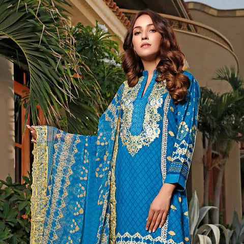Haya Emaan Embroidered Viscose 3 Piece Un-Stitched Suit - 6B