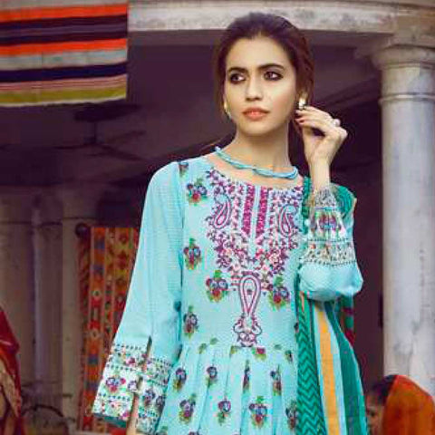 Monsoon Printed Lawn 3 Piece Un-Stitched Suit Vol 1 - 6 B