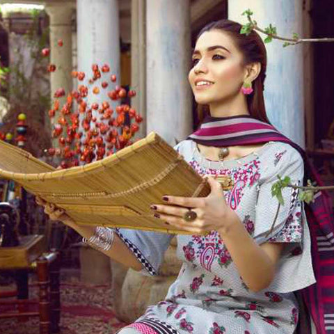 Monsoon Printed Lawn 3 Piece Un-Stitched Suit Vol 1 - 6 C