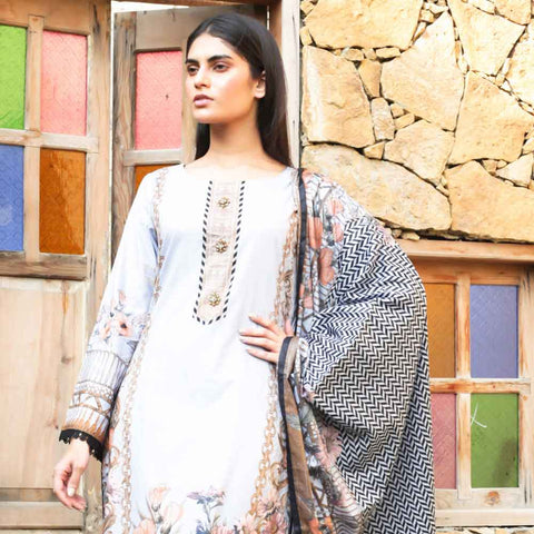 Cotrina Printed Cotton 3 Piece Un-Stitched Suit - 07