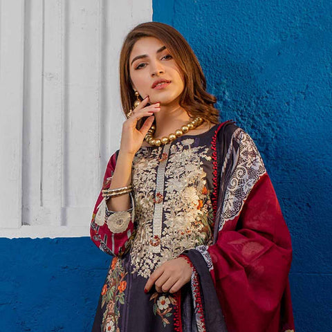 Regalia Digital Printed Embroidered Lawn 3 Piece Un-Stitched Suit Vol 2 - 7