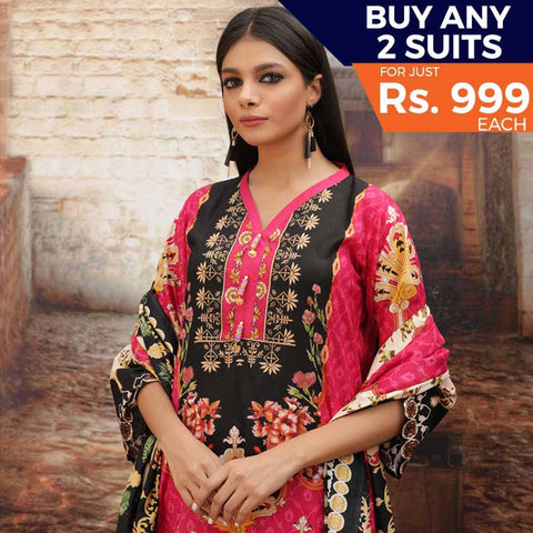 Rangreza Printed Cotton 3 Piece Un-Stitched Suit - 07