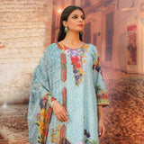 Salina Digital Printed Cotton Satin 3 Piece Un-Stitched Suit - 07