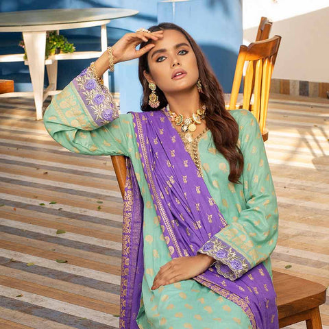 Banarsi Gold Printed Cotton 3 Piece Un-Stitched Suit Vol 2 - 07