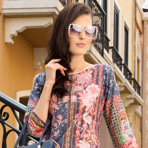 Salina Digital Embroidered Lawn 3 Piece Un-Stitched Suit Vol 1 - 09