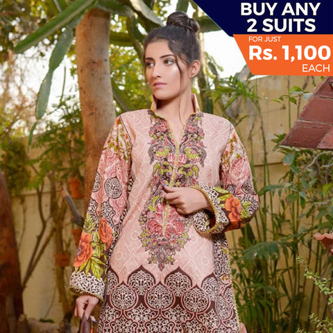 Libas Printed Lawn 3 Piece Un-Stitched Suit Vol 1 - 9 B