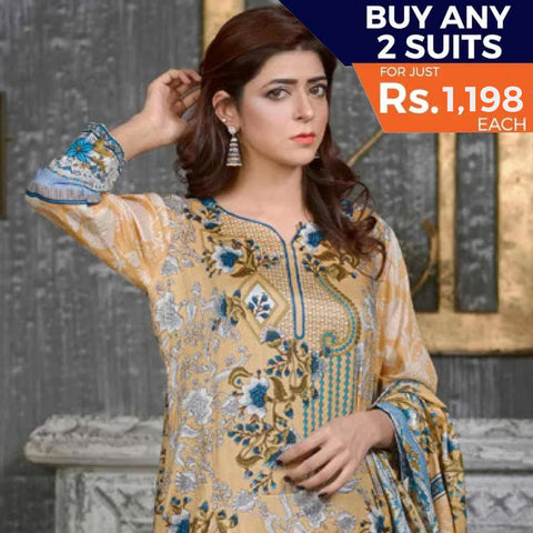 Three Star Printed Lawn 3 Piece Un-Stitched Suit Vol 1 - 3 B