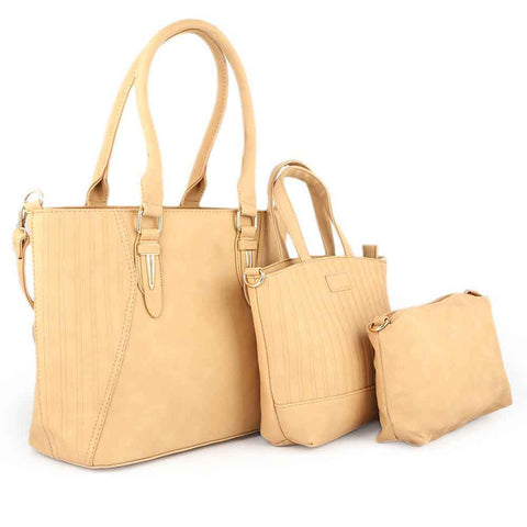 Women's Handbag 3 Pcs (7713) - Apricot