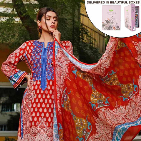 Zobia Noor Embroidered Lawn 3 Piece Un-Stitched Suit - ZN-06A