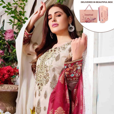 Exclusively Yours Heavy Embroidered Chiffon 3 Piece Un-Stitched Suit - 4637