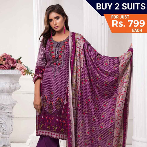 Sahil Printed Lawn 3 Piece Un-Stitched Suit Vol 7 - ZS 04 - test-store-for-chase-value
