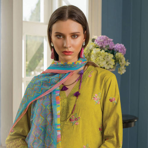Maira Ahsan Embroidered Chiffon 3 Piece Un-Stitched Suit - 07