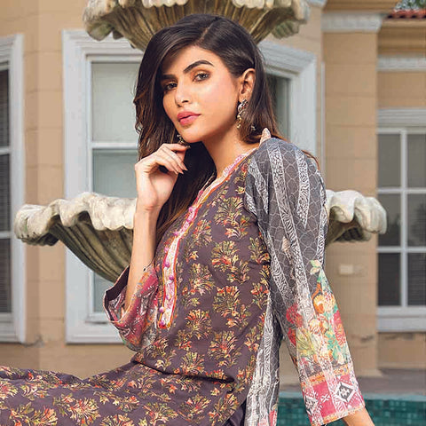 Masumery Embroidered Lawn 3 Piece Un-Stitched Suit Vol 17 - 07