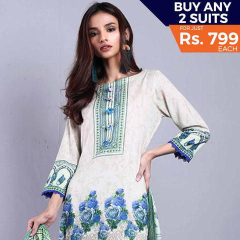 Rangreza Printed Lawn Vol-1 Un-Stitched Suit (11A) - test-store-for-chase-value