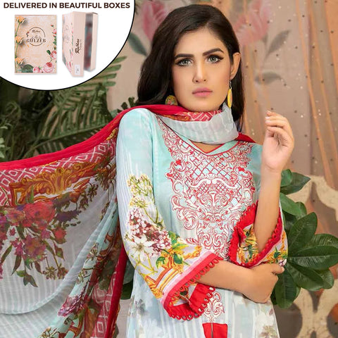 Gulzeb Embroidered Lawn Un-Stitched Suit - 9