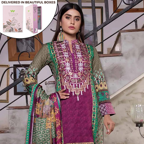 Noor Fatima Embroidered Lawn 3 Piece Un-Stitched Suit - B4