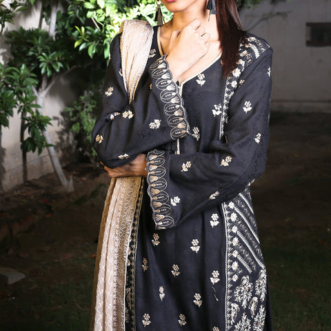 Kalyan Black & White Embroidered Shifli 3 Piece Un-Stitched Suit - 07