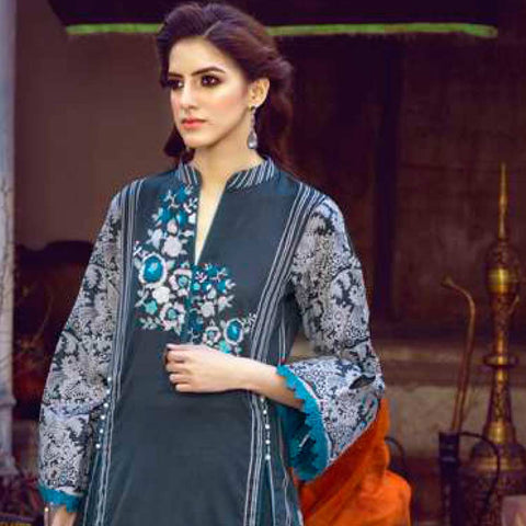 Monsoon Printed Lawn 3 Piece Un-Stitched Suit Vol 1 - 7 B