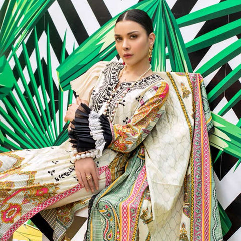 Signature Icon Printed Embroidered Lawn 3 Piece Un-Stitched Suit - 7 B