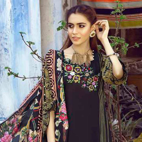 Monsoon Printed Lawn 3 Piece Un-Stitched Suit Vol 1 - 7 C