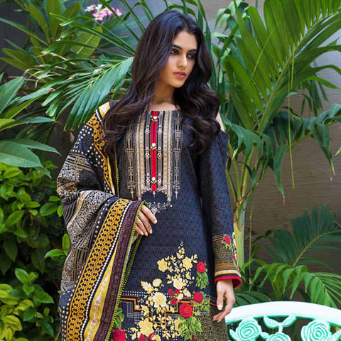 Digital Printed Khaddar 3 Piece Un-Stitched Suit - 08