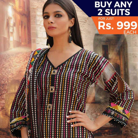 Rangreza Printed Cotton 3 Piece Un-Stitched Suit - 08