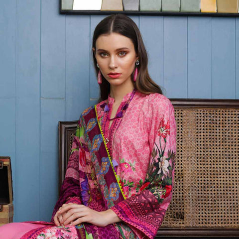 Salina Digital Printed Cotton Satin 3 Piece Un-Stitched Suit - 08