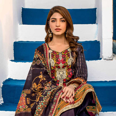 Regalia Digital Printed Embroidered Lawn 3 Piece Un-Stitched Suit Vol 2 - 8