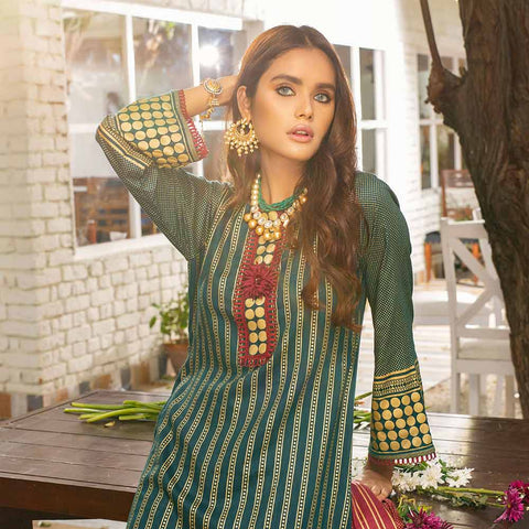 Banarsi Gold Printed Cotton 3 Piece Un-Stitched Suit Vol 2 - 08