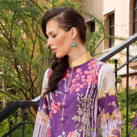 Salina Digital Embroidered Lawn 3 Piece Un-Stitched Suit Vol 1 - 08