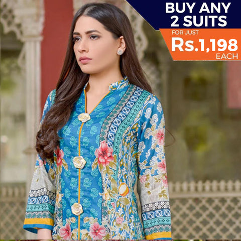 Three Star Printed Lawn 3 Piece Un-Stitched Suit Vol 2 - 7 A
