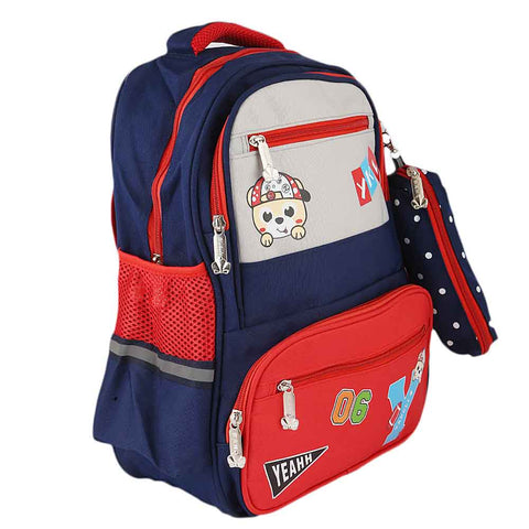 Kids School Bag (8851) - Navy Blue - Red