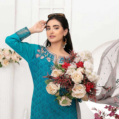 Ophelia Embroidered Chikankari 3 Piece Un-Stitched Suit - 8881 A