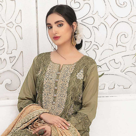 Ophelia Embroidered Chikankari 3 Piece Un-Stitched Suit - 8882 A