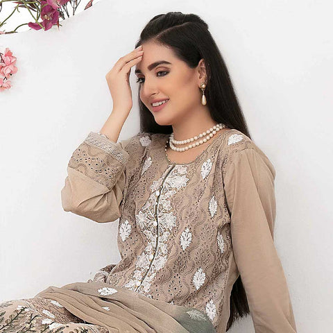 Ophelia Embroidered Chikankari 3 Piece Un-Stitched Suit - 8883 A