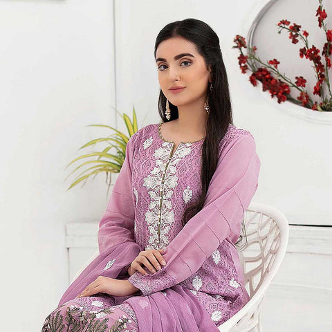 Ophelia Embroidered Chikankari 3 Piece Un-Stitched Suit - 8883 B