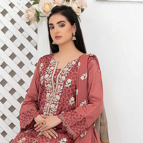 Ophelia Embroidered Chikankari 3 Piece Un-Stitched Suit - 8884 A