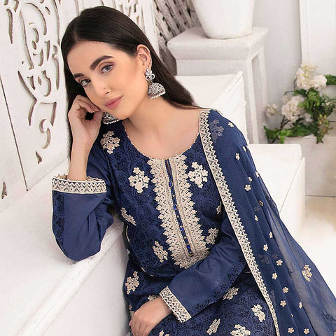 Ophelia Embroidered Chikankari 3 Piece Un-Stitched Suit - 8885 B