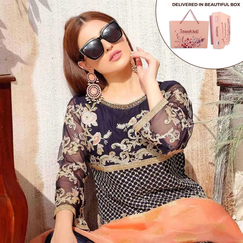 Exclusively Yours Heavy Embroidered Chiffon 3 Piece Un-Stitched Suit - 4636