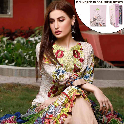 Zobia Noor Embroidered Lawn 3 Piece Un-Stitched Suit - ZN-05A