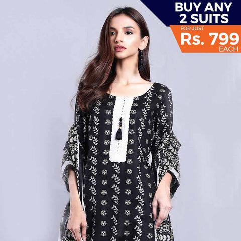 Sahil Black & White Printed Lawn Un-Stitched Suit 2