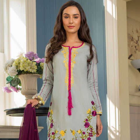 Maira Ahsan Embroidered Chiffon 3 Piece Un-Stitched Suit - 08